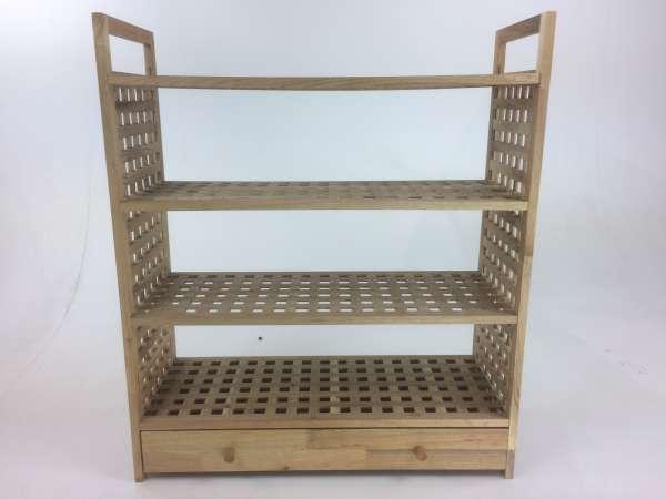 Schuhregal mit Schublade, 3 Fächer, Gitterdesign