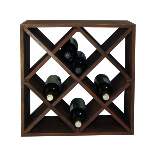 Weinflaschen-Regalsystem, 12-facher Einteilung, braun