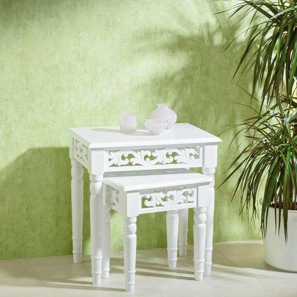 Antiker Tisch, 2er Set, weiß