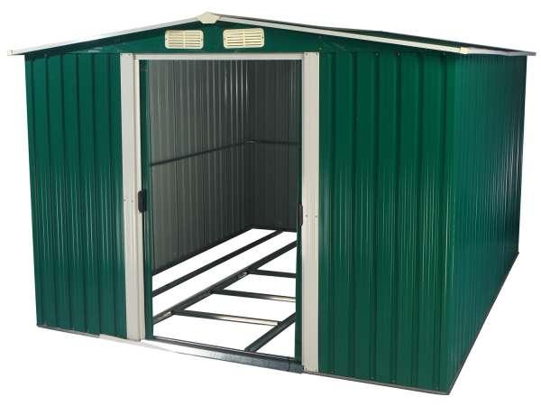 Gerätehaus, grün, 3120 x 2570 x 1775