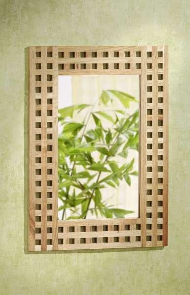 Wandspiegel, 50x70, Gitterdesign, Walnussholz