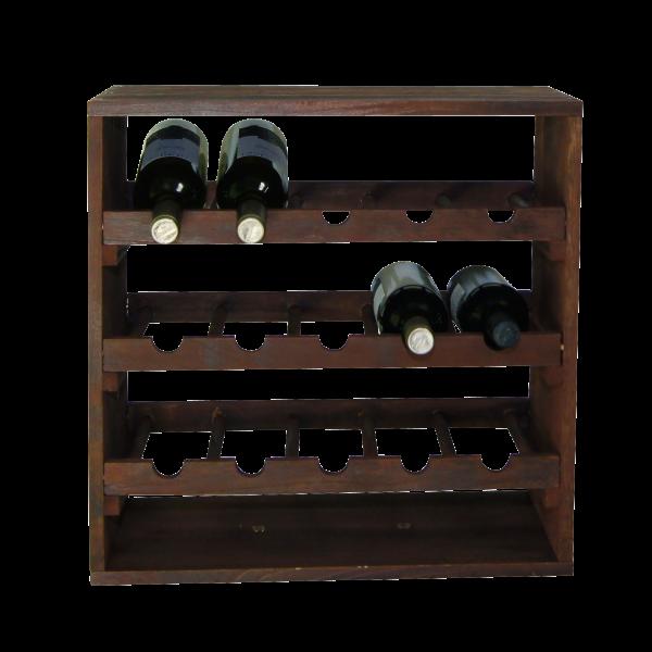 Weinflaschen-Regalsystem, 3 lagig, braun